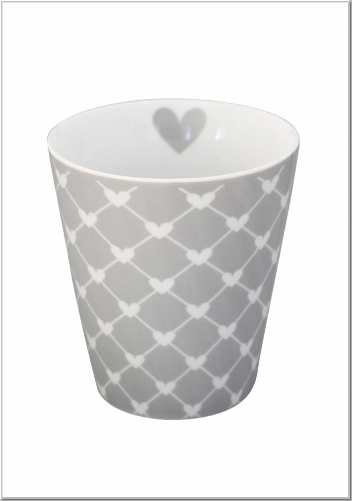 "Happy Mug ""Diagonal hearts"" Kaffeebecher H10xØ9cm"