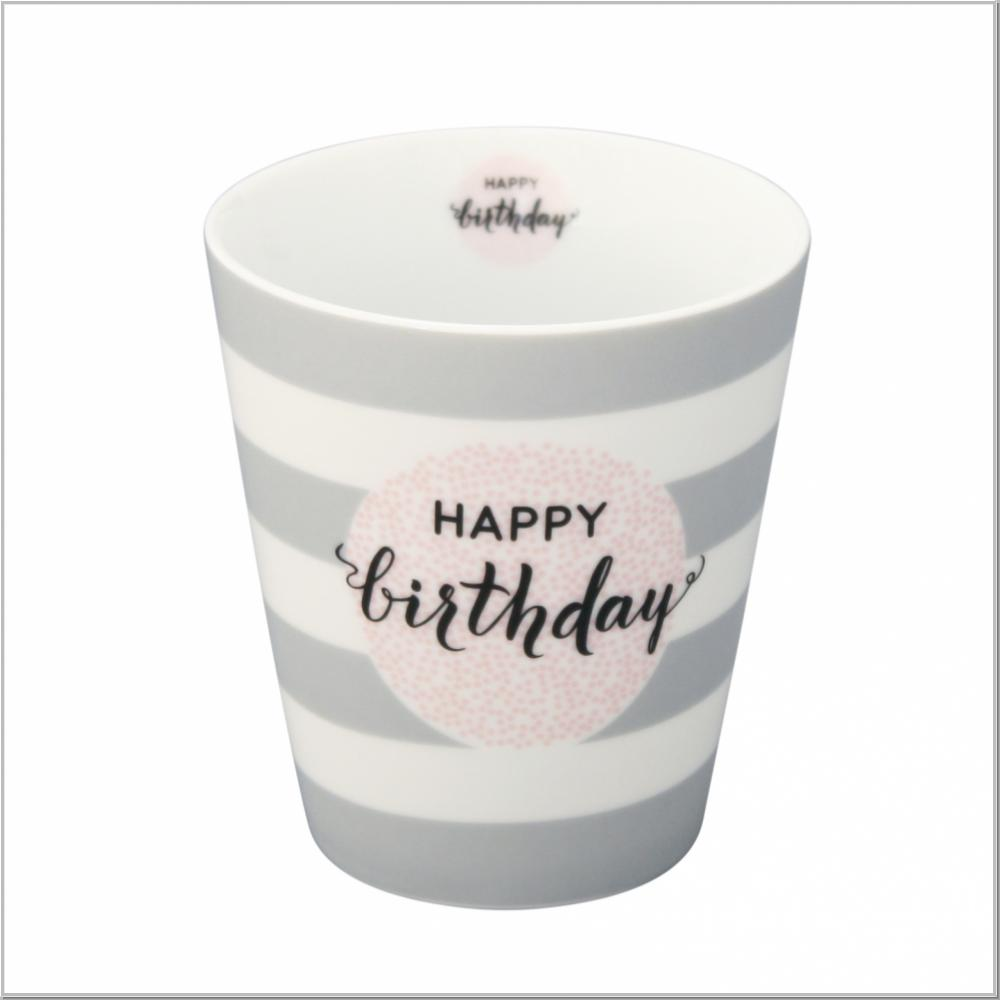 "Happy Mug ""Happy Birthday"" Kaffeebecher H10xØ9cm"